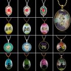 Retro Glass Locket Natural Dried Flower Necklace Women Sweater Chain Jewelry