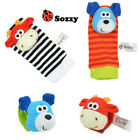 Sozzy *NEW* Dog and Cow Baby Sock & Wrist Rattle 4 pieces (2 wrist + 2 socks)