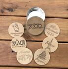 Mediterranean Cruises 6 piece Leather Coaster Set in a Leather Coaster Topped Ti