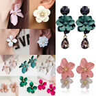 Fashion Boho Painting Big Flowers Ear Stud Earrings Women Charm Jewelry Gifts image