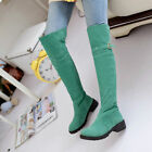 Women's Round Toe Winter Suede Chunky Heel Buckles Over The Knee High Boots