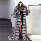 Women Luxury Genuine Silver Fox Fur 160CM Long Coat With Hood Thick Warm Jacket