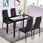 5 Piece Tempered Glass Dining Table Set and 4 Chairs Kitchen