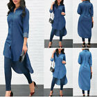 US Women's Blue Jeans Denim Long Sleeve T-shirt Loose Shirt