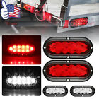 2Pcs 6 inch 10 LED Tail Flash Light Stop Turn Signal Lamp for Truck Trailer Boat