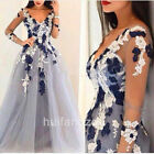 White Navy Blue Wedding Dresses Bridal Gowns Long Sleeves A Line V Neck Lace New