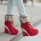 Womens Platform Wedge Heel Side Zip Fur Top Winter Snow Fashion Ankle Boot Shoes