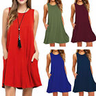 Womens Summer Sleeveless Vintage Short Mini Dress Casual Loose Tops T Shirt