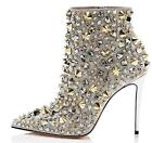 Womens Rhinestones Rivet Pointed Toe Ankle Boots High Heels Stud Club Shoes F644