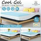 8CM Cool Gel Memory Foam Mattress Topper Soft Bedding Protector Cover All Sizes