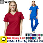 WonderWink Scrubs Set W123 Women's V-Neck Top  Classic Pant 6255/5255