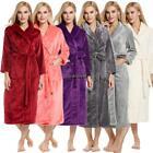 Women Shawl Collar Long Sleeve Soft Plush Bathrobe Sleepwear Long Robe EHE8 03