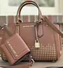 Michael Kors Hayes  Luggage Brown Studded Messenger Satchel Bag or Wallet or Set