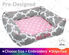 Girly Pink & Gray Dog Bed or Cat Bed - Gray, White, Light Pink, Quatrefoil
