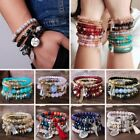Fashion Multilayer Beaded Bracelet Natural Stone Crystal Bangle Women Jewelry image