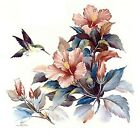Hibiscus Flower Hummingbird Select-A-Size Ceramic Waterslide Decals Ox image