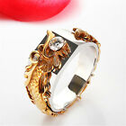 Vintage Gold Toned Dragon Head Ring Band Men's Gothic Punk Jewelry Size 6-10 Z