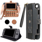 PU Leather Case Stand For Nintendo Switch Cover Flip Strap Wallet Card Slot