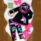 US Unicorn Kid Baby Girl Outfit Clothes T shirt Top Dress+Pants Leggings Set NEW