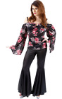 70s Girl Costume Retro Hippy 60s Fancy Dress Flared Sexy Seventies Outfit Small