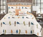 7pc ROWLEY BIRDS Quilt Set Animal Reversible Orange/Blue/White Nature Boho Retro