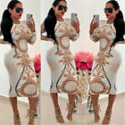 US Fashion Womens Long Sleeve Print Bodycon Clubwear Cocktail Party Sexy Dresses