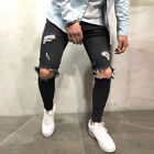 Men Skinny Stretch Jeans Distressed Ripped Freyed Destroyed Denim Pants Trousers
