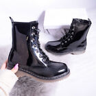 Womens Ladies Pit Ankle Boot Biker Grunge Doc Chunky Lace Up Zip Black Shoe Size