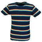 Mens Navy Retro Mod 60s Indie Multi Rainbow Striped Cotton T Shirt