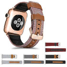 Genuine Leather Hybrid Canvas Watch Band Strap for Apple Watch Series 4/3/2/1