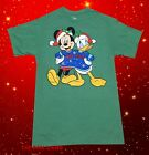 New Disney Mickey Mouse Donald Naughty Nice Men's Christmas Vintage T-Shirt
