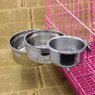 Stainless Steel Hanging Bowl Dog Cat Feeding Food Bird Water Dish Cage Bowl New
