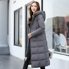Womens Parka Coat Thicken Padded Hooded Long Style Over The Knee Solid Chic D308