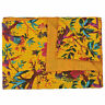 Indian Yellow Bird Print Vintage Kantha Quilt Cotton Body Wramer Queen Comfortor