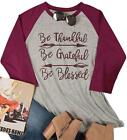 LOTUCY Be Thankful Grateful Blessed T Shirt Women Long Sleeve Thanksgiving Tee
