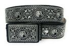 CINTO CHARRO BORDADO HILO PLATEADO. MENS WESTERN BELT. VAQUERO LEATHER BELT