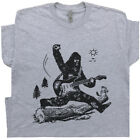 Guitar T Shirt Bigfoot Jump Playing Electric Mens Graphic Vintage Sasquatch Rock image