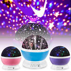 Star Moon Sky LED Rotating Projector Night Light Baby Kids Bedroom Sleeping Lamp
