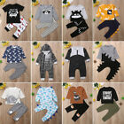 Infant Kids Baby Boy Outfit Sets Shirt T-shirt Tops+Long Pants Clothes UK STOCK
