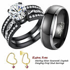 His and Hers Titanium Stainless Steel Engagement Ring Matching Wedding Band Sets