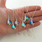 Cabochon Pendants Jewelry Little Necklace Gift For Girls 5 Colors Mermaid New Zx