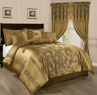 Chezmoi Collection Royale 7-Piece Jacquard Floral Comforter or Curtain Set, Gold image
