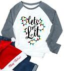 VILOVE Lets Get Lit Christmas Shirts Women Funny Cute Ligts Tree Long Sleeve