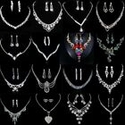 Chic Wedding Bridal Bride Rinestone Crystal Necklace Earrings Silver Jewelry Set