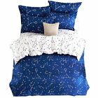EsyDream Home Bedding,Blue Color constellation 4PC Duvet Cover Sets,Space Style