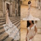 Champagne Wedding Dresses Mermaid Long Sleeves Lace Applique Bridal Gown 2019