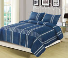 Queen or King Navy Stripe Plaid Checkered Quilt Bedding Set Blue Grey and White image