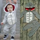 US Cotton Kids Baby Boy Hoodie Clothes T-shirt Tops Pants Outfits Set Tracksuit