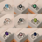 Elegant Green Red Blue Purple Black Topaz Womens Wedding Ring 925 Silver Jewelry image
