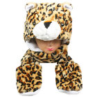 Silver Fever® Plush Soft Animal Hat Built-in Earmuffs Scarf Gloves Leopard